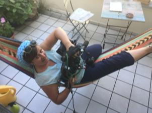 Kamerafrau Petra Domres beim Dreh für WDR Westart Live